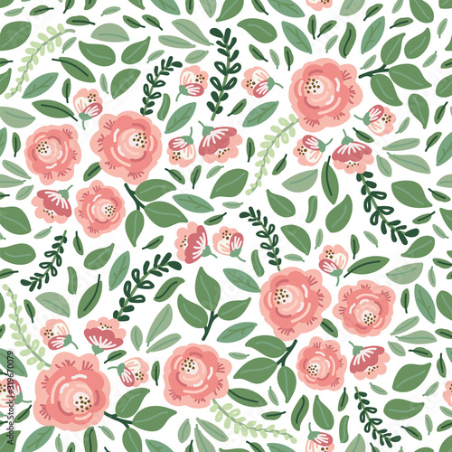 cute-botanical-floral-seamless-pattern-background-with-bouquets-of-rustic-roses-flowers-and