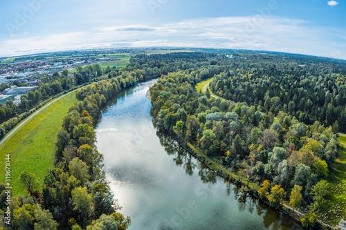 Fotografia Luftaufnahme vom Lech südöstlich von Augsburg in südlicher Richtung