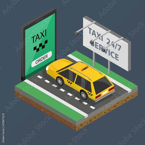 Fotografie, Obraz Flat isometric taxi yellow cab on smartphone vector illustration