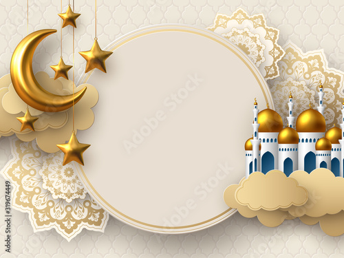 Ramadan Kareem vector card with 3d golden metal crescent, stars, paper cut clouds, mosque and flowers Canvas Print