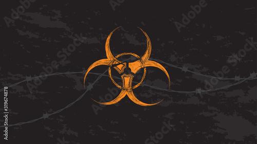 Orange biohazard sign with barbed wire in grunge style. Canvas Print