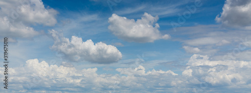Fototapeta panorama image, dramatic cloud moving above blue sky, cloudy day weather background obraz