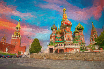 The amazing colorful sky with Moscow Kremlin and Saint Basil's Cathedral on Red Square, which is the most popular tourist attraction in Moscow, Russia. Abstract oil painting.