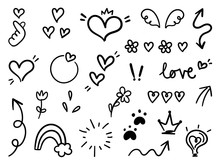 Valentines Day Doodle Collection, Cute Love Set Doodle On White Background.