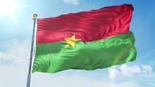 Burkina Faso Flag Waving In Th...