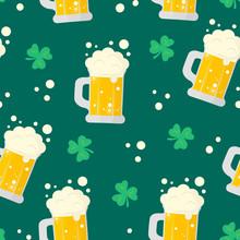 Happy Saint Patrick Day Bear Mug Seamless Pattern. Holiday Background With Clover.