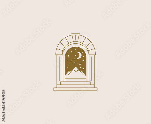Photo Vector abstract logos and branding design templates in trendy linear minimal sty