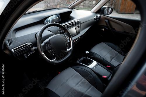 Driver's seat of the car. Car interior. Wallpaper Mural