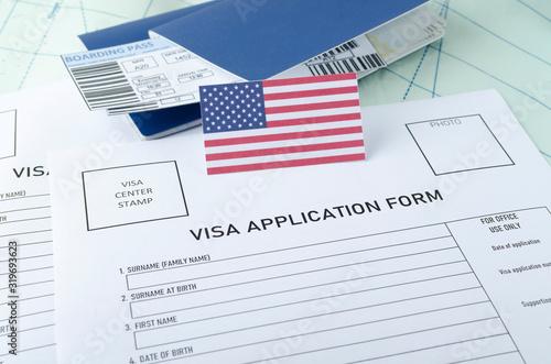 Concept of getting legal American visa Wallpaper Mural