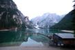Evening at Lago di Braies lake Italy