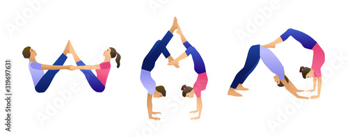 Photo Vector yoga illustration with set of yoga asanas for couple yoga