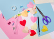 Paper craft step by step, children greeting card with hearts . Handmade gift.