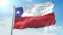 Chile Flag Waving In The Wind Against Deep Blue Sky. National Theme, International Concept. 3D Render Seamless Loop 4K