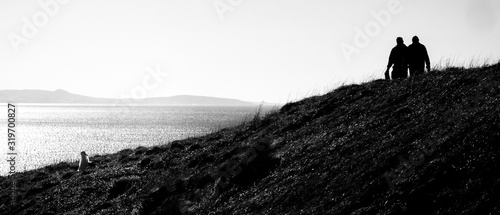 Fotografia Rear View Of Silhouette People On Cliff Against Clear Sky