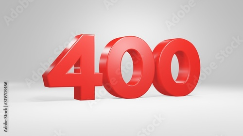 Tela Number 400 in red on white background, isolated glossy number 3d render