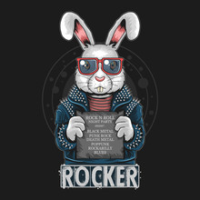 RABBIT ROCK N ROLL BUNNY ARTWO...