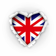 Torn Paper Heart With British...
