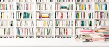 White Bookshelves In The Library 3d Render 3d Illustration