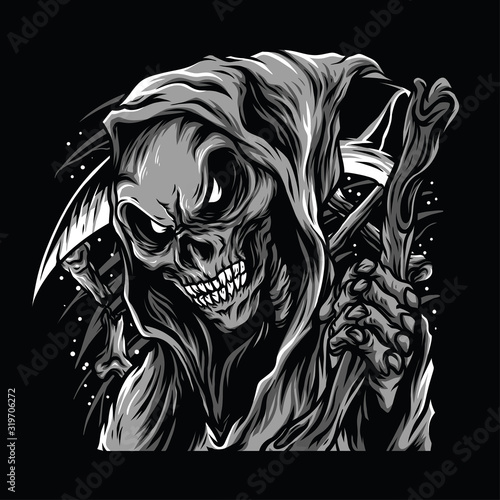 Photo Skull Reaper Black and White Illustration