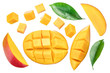 canvas print picture - Set of mango cubes and mango slices isolated on a white background.