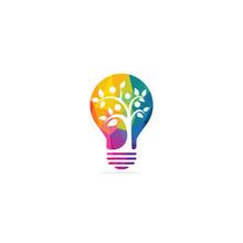 Human Tree And Light Bulb Logo...