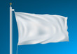 Empty White Clear Flag Waving In Clean Blue Sky