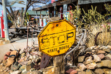 Vintage Stop Sign Outside The Hackberry General Store On Arizona State Route 66
