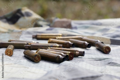 Canvas Print High Angel View Of Ammunition On Fabric