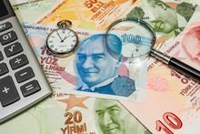 Close Up Turkish Lira Banknote...