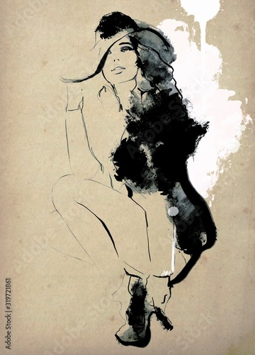 Obrazy reprodukcje  vintage-painting-woman