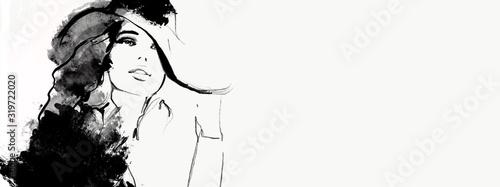 kobieta z okularami przeciwsłonecznymi i kapeluszem. ilustracja moda czarno-biała. Szkic mody. Malarstwo abstrakcyjne Kobieta.フ ァ ッ シ ョ ン 女性