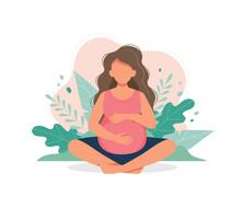 Pregnant Woman Doing Prenatal Yoga. Pregnancy Health Concept. Cute Vector Illustration In Flat Style