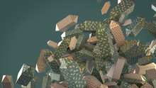 3d Render Green Cubes With Gold Edges And Simple Patterns On A Green Background With Depth Of Field.