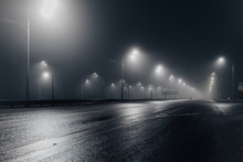 Foggy Misty Night Road Illumin...