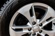 Close up of alloy car wheels.