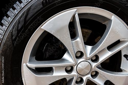 Close up of alloy car wheels. Canvas Print