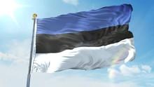 Estonia Flag Waving In The Wind Against Deep Blue Sky. National Theme, International Concept. 3D Render Seamless Loop 4K