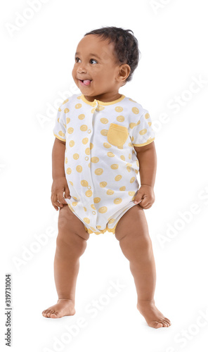 Cute African-American baby isolated on white Fototapeta