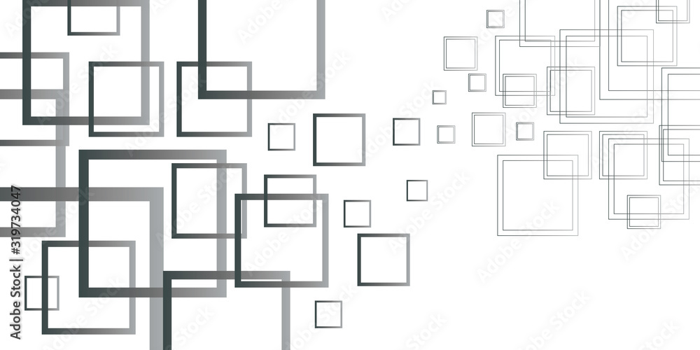 Fototapeta Abstract black and white square composition background