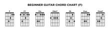 Basic Guitar Chord Chart Icon Vector Template. F Key Guitar Chord.