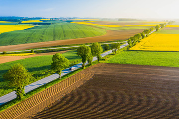Spring landscape of farmland in Poland.