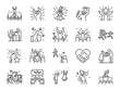 Idol line icon set. Included icons as popular, famous, star, singer, actor,actress and more.