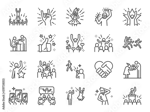 Idol line icon set. Included icons as popular, famous, star, singer, actor, actress and more. - 319738053