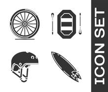 Set Surfboard, Bicycle Wheel, Helmet And Rafting Boat Icon. Vector