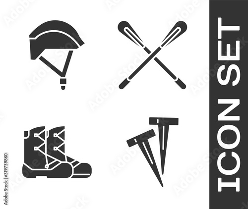 Fototapeta Set Pegs for tents, Bicycle helmet, Boots and Crossed paddle icon