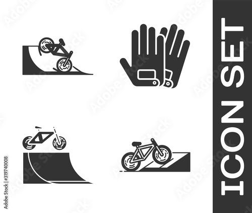 Foto Set Bicycle on street ramp, Bicycle on street ramp, Bicycle on street ramp and Gloves icon