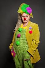 Woman Clown Studio Portrait. P...