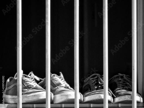 Obraz Close-Up Of Shoes At Window Sill - fototapety do salonu