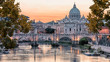 Beautiful sunset on the city of Rome in evening
