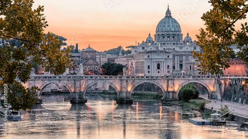 Beautiful sunset on the city of Rome in evening Wallpaper Mural